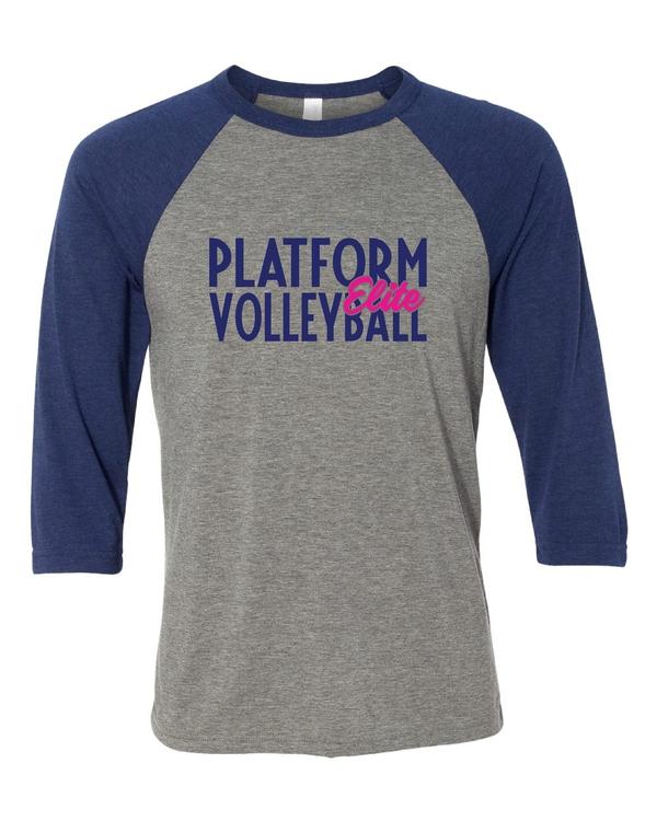 Platform Elite Volleyball Glitter Ladies Vintage Triblend Baseball Tee