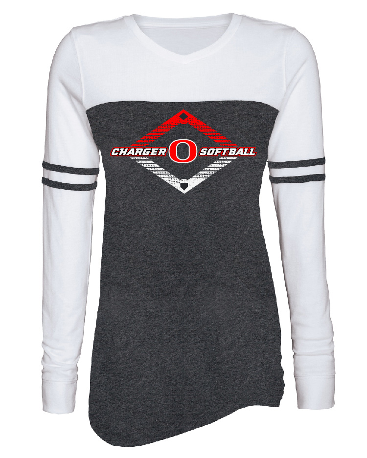Enza Ladies Triblend Varsity Long Sleeve Tee