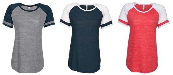 Enza Ladies Vintage Triblend Colorblock Tee