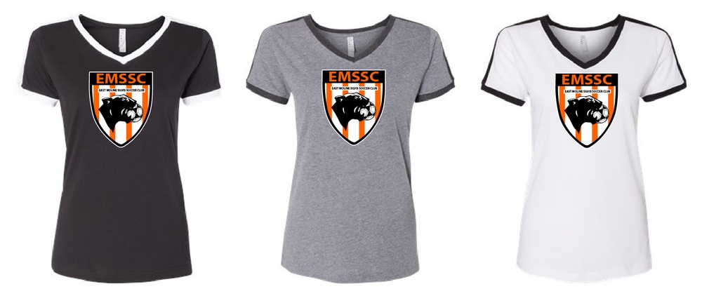Ladies V-Neck Ringer Soccer T