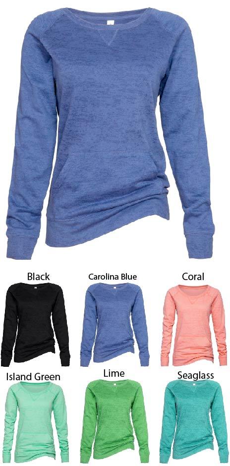 Enza Ladies Burnout Wide Neck Sweatshirt