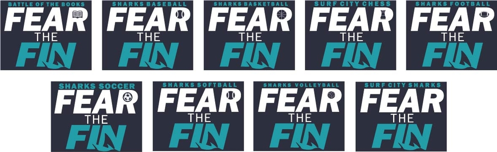"""Surf City """"Fear The Fin"""" Designs"""