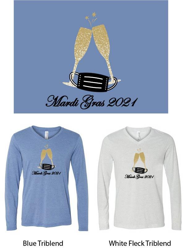 Mardi Gras Bella V-Neck Long Sleeve T